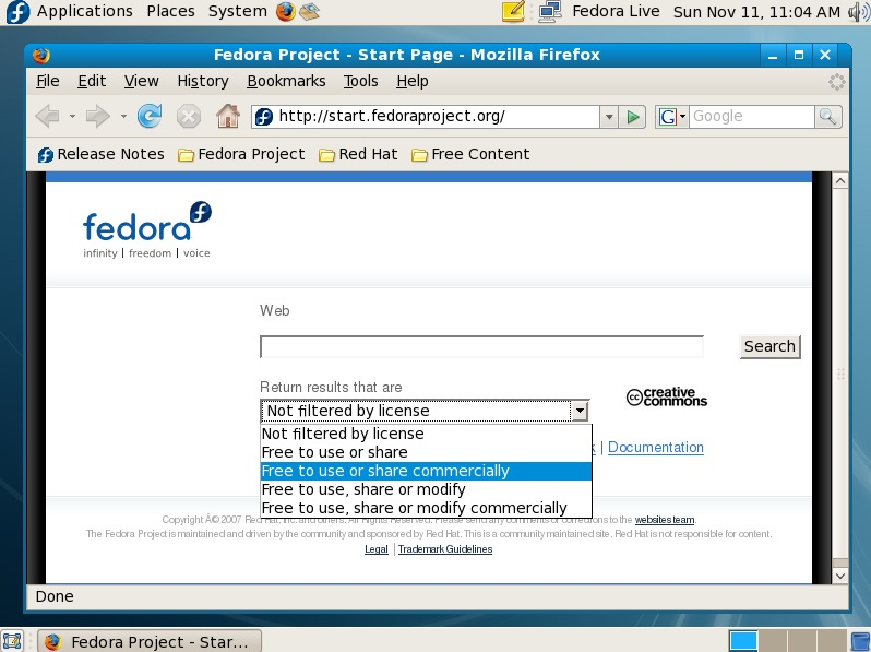 Fedora 8 Firefox CC search