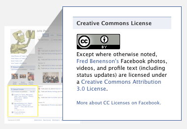 Creative Commons License on Facebook