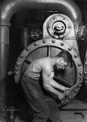 Power House Mechanic Working on Steam Pump, by Lewis Hine