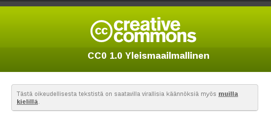 CC0 Finnish header screenshot
