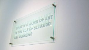 Statements (2013), BFAMFAPhD / Caroline Woolard, plexiglass, plaque hardware. CC-BY-ND 4.0