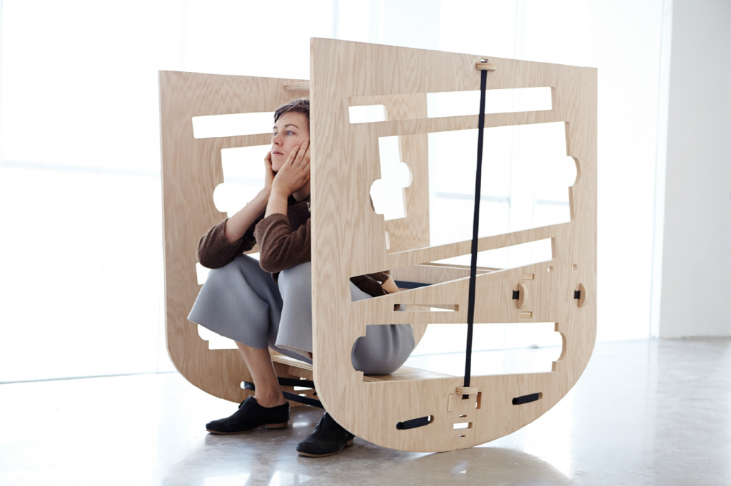 Queer Rocker (2013) Caroline Woolard, CNC prototype oak plywood, rachet straps, newspapers, CC-BY-ND 4.0