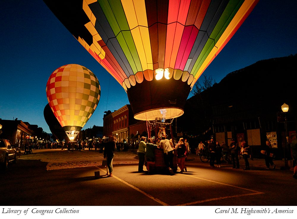 Hot Air Balloons on the street in Telluride, Colorado
