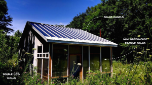 Tiny CEB house with tiny greenhouse and solar roof - Factor e Farm (Missouri, US) - Built in 2014