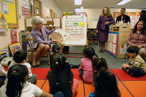On Thursday, February 17, HHS Secretary Kathleen Sebelius visited the Judy Hoyer Early Learning Center at Cool Springs Elementary School in Adelphi, Maryland.  HHS photo by Chris Smith, US Government work