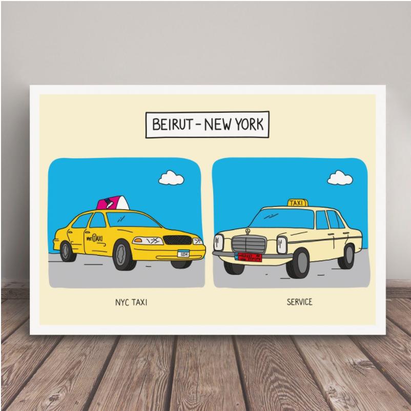 Beirut – New York print by Maya Zankoul