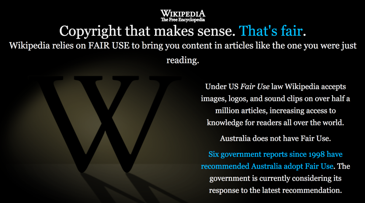 Wikipedia Says It's Time for Fair Use in Australia
