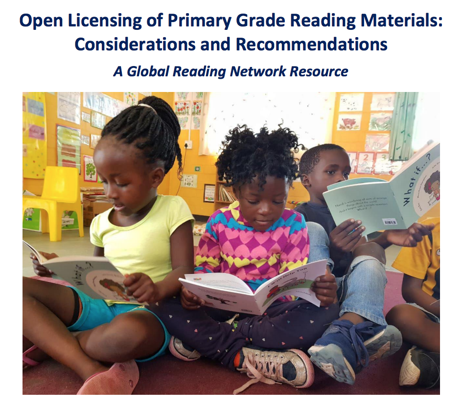 "Cover of ""Open Licensing of Primary Grade Reading Materials: Considerations and Recommendations"" document"