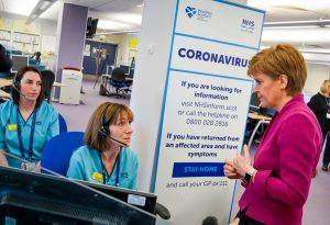 Scottish minister talks with health workers