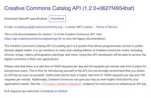 CC Catalog API (screenshot)