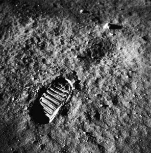 Boot print on the Moon's surface from the Apollo 11 mission.