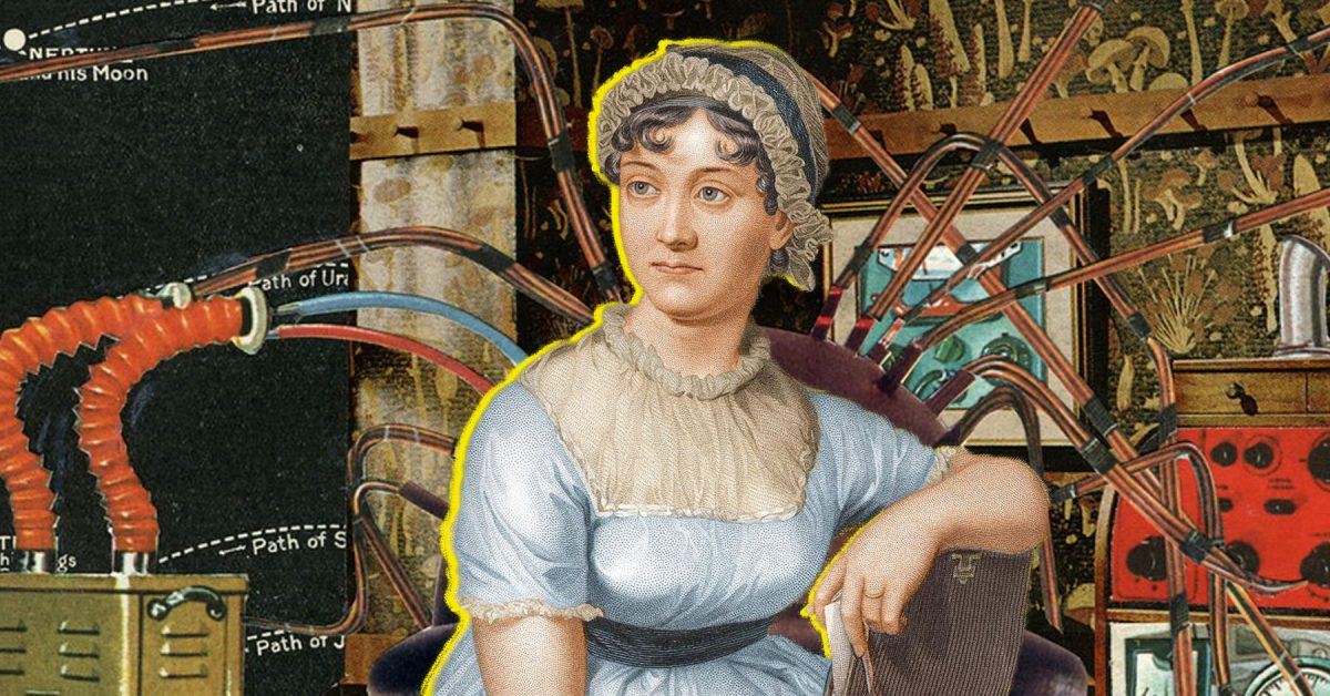 Jane Austen portrait among wires