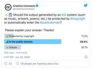 Screenshot of CC Twitter Poll on AI (June 2020)