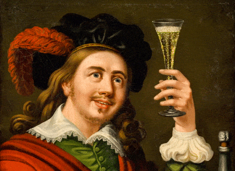 A painting of a man holding a champagne glass