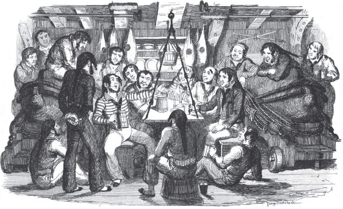 Group of sailors singing together