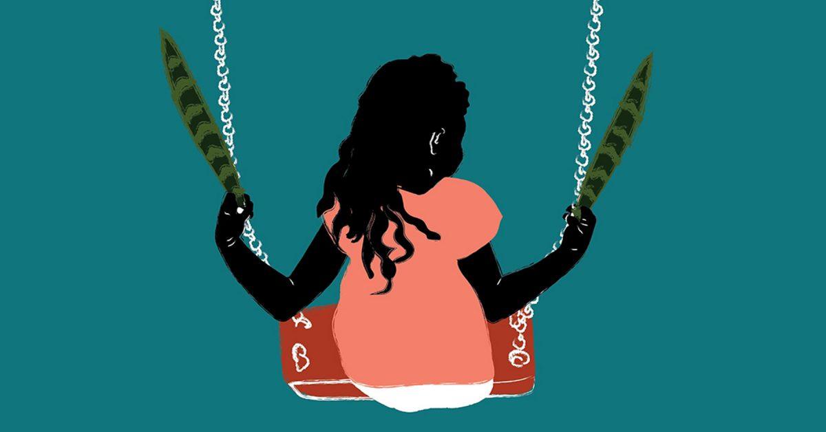 An illustration of a little girl on a swingset