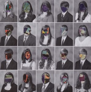 A collage of people with their faces covered